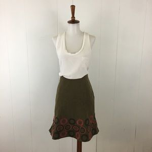 Boden Corduroy Embroidered Fit & Flare Skirt